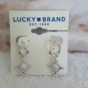 New Lucky Brand Silver Stone Mini Hoop Earrings